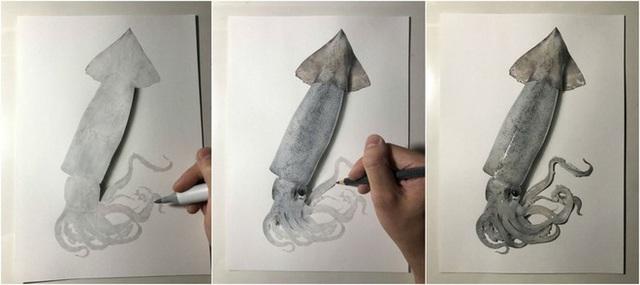 Nghệ sĩ Nhật vẽ tranh siêu thực khiến người xem cứ ngỡ như đang nhìn một con mực sống trước mặt - Ảnh 2.
