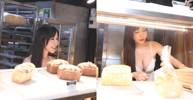 Hot girl diện váy xẻ ngực đứng bán bánh khiến dân tình suýt xoa: Làm nghề này quá phí - Ảnh 1.