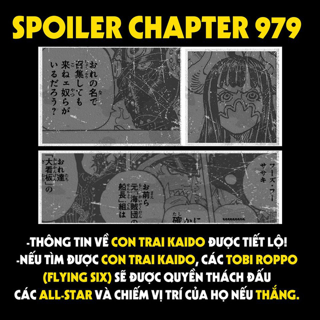 Spoiler One Piece 979: Con trai Kaido được tiết lộ kĩ hơn, Flying Six muốn đối đầu với bộ ba tam tai để tranh giành chức vị! - Ảnh 1.