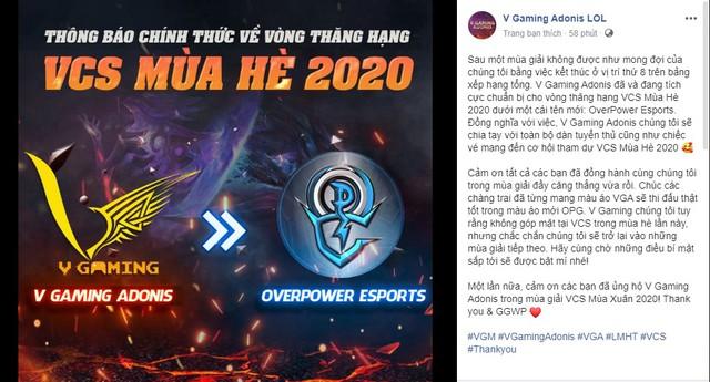 Team LMHT của Optimus mua lại slot đánh Thăng hạng của V Gaming, chỉ còn cách VCS Mùa Hè 2020 hai trận đấu nữa - Ảnh 3.