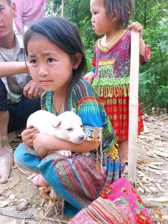 Bé gái vùng cao giữ chặt chú chó nhỏ không bán khiến dân mạng thương cảm - Ảnh 2.