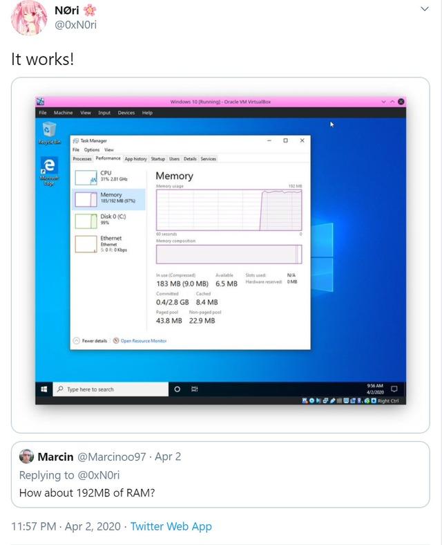 Một thành viên nhí 16 tuổi trên Twitter đã boot vào Windows 10 thành công chỉ với 192MB RAM - Ảnh 1.