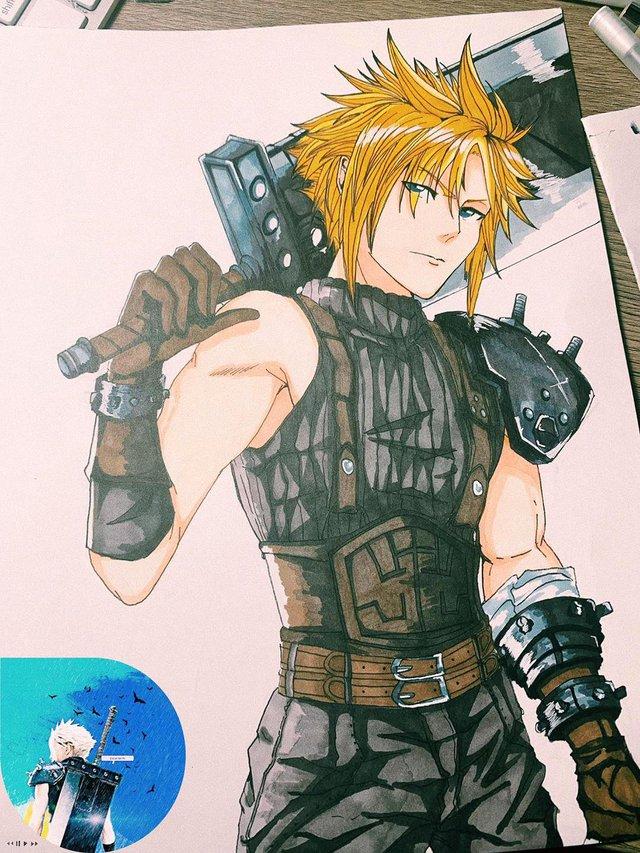 Cter trổ tài vẽ Cloud Strife trong Final Fantasy VII Remake siêu đẹp - Ảnh 2.