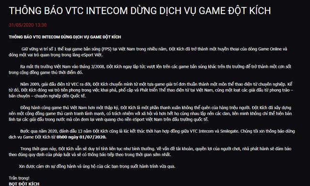 Nóng! VTC Game đột ngột thông báo chính thức dừng dịch vụ game Đột Kích - Ảnh 3.
