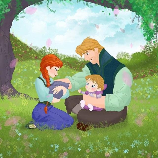 Bộ tranh Khi 18 cặp đôi nổi tiếng của Disney có con thu hút sự chú ý trên toàn thế giới - Ảnh 17.
