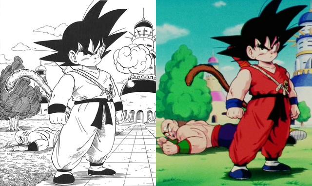 Dragon Ball: So sánh ảnh đen trắng với bản gốc anime, kẻ tám lạng người nửa cân, Goku vẫn quá chất - Ảnh 1.