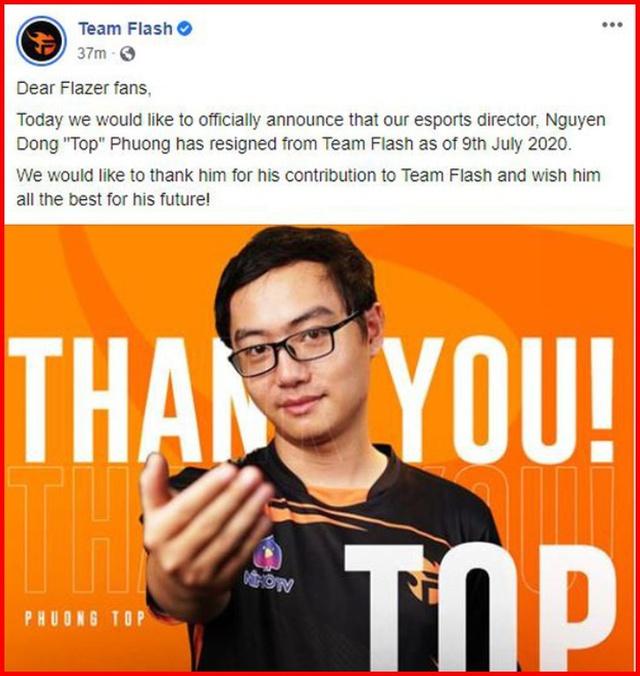 Liên Quân Mobile: Giám đốc Team Flash Phương Top từ chức, fan ngỡ ngàng không hiểu chuyện gì xảy ra - Ảnh 1.