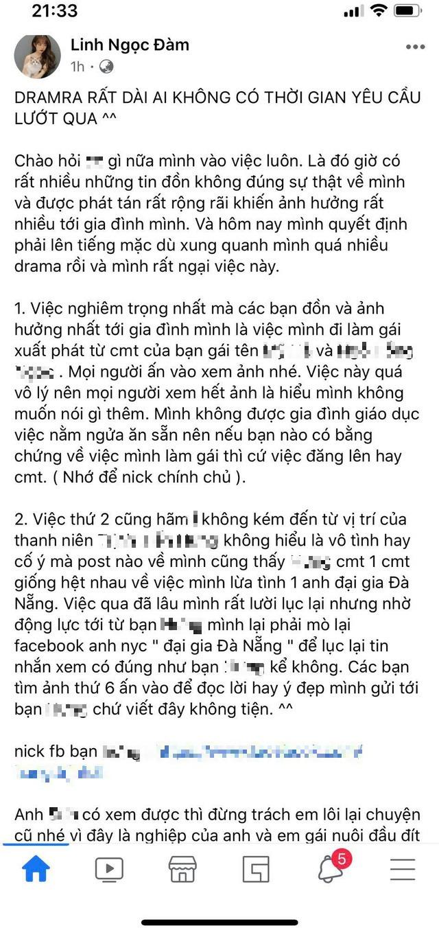 Linh Ngọc Đàm bất ngờ viết status drama dài dằng dặc, gay gắt khi bị anti fan tung tin đồn làm gái, lừa tình đại gia - Ảnh 1.