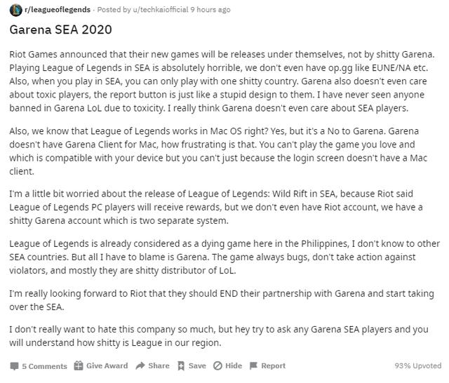 Chia sẻ cay đắng của game thủ Singapore và Philippines - 'Garena đang khiến LMHT chết dần'