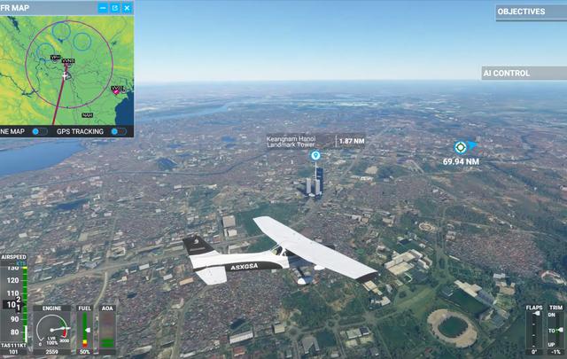 Toàn cảnh Hà Nội, sông Hồng và Keangnam Landmark 72 trong Microsoft Flight Simulator 2020 - Ảnh 2.
