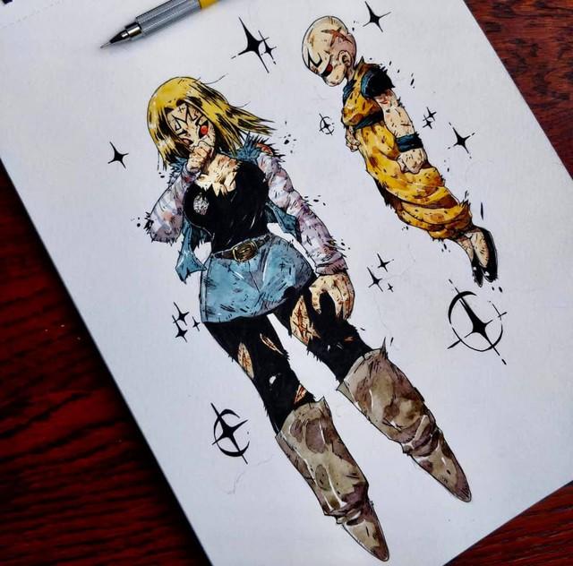 Giật mình khi thấy các nhân vật trong Dragon Ball được vẽ theo phong cách zombie - Ảnh 23.