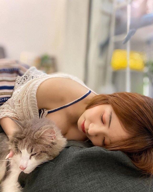 Mang mèo cưng lên sóng, nữ streamer xinh đẹp suýt thì gặp sự cố khi bị kéo áo tới tụt ngực - Ảnh 4.