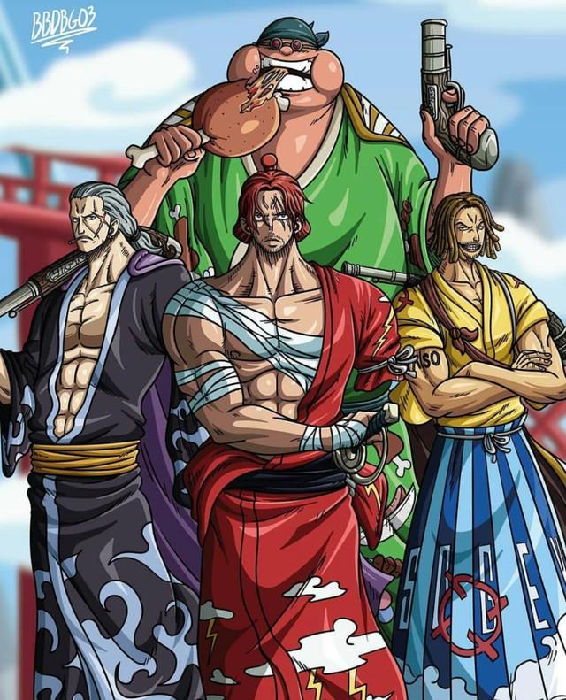 One Piece: Ngẩn ngơ ngắm Tứ hoàng Shanks cùng 3 thành viên mạnh nhất băng Tóc Đỏ diện trang phục Wano quốc - Ảnh 3.