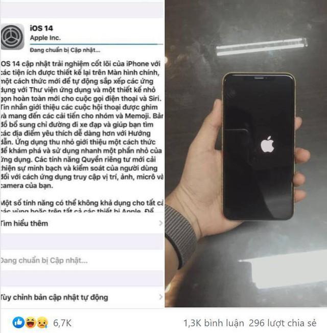 Cập nhật IOS 14, fan Iphone đua nhau báo lỗi, hết táo lệch lại tới màn hình bật mãi không lên - Ảnh 1.