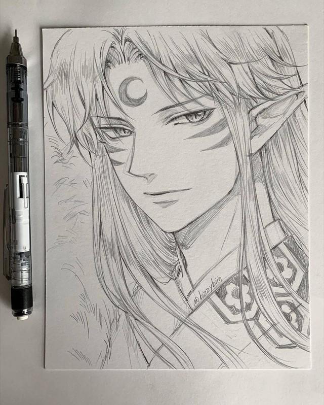 Loạt tranh vẽ tay đại yêu quái mỹ nam trong Inuyasha đẹp đến nỗi xem rồi không thể rời mắt - Ảnh 9.