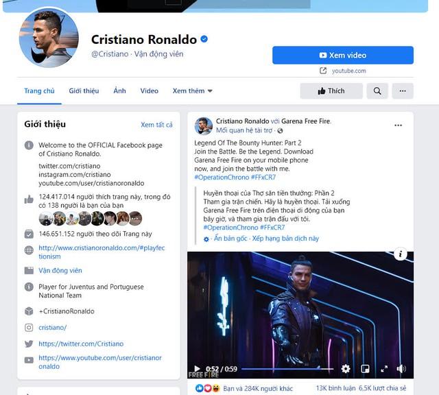 Ronaldo đích thân nói về Free Fire và dụ dỗ gần 150 triệu Fan trên Fanpage tích xanh quyền lực của mình - Ảnh 4.