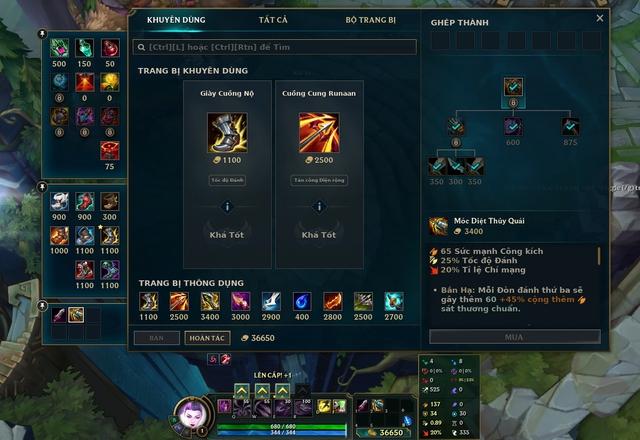 Tính năng Trang Bị Khuyên Dùng sẽ giúp game thủ làm quen nhanh chóng với những item mới