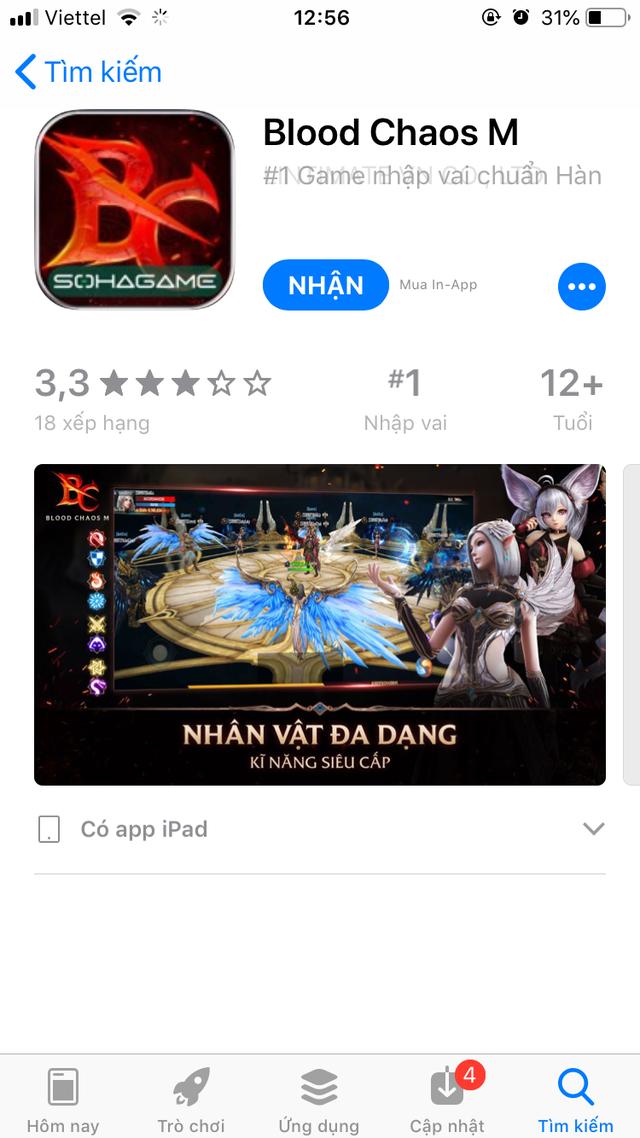 """Không ngoài dự đoán, bom tấn """"hot"""" như Blood Chaos M chỉ cần 1 tiếng để leo Top 1 App Store! - Ảnh 2."""