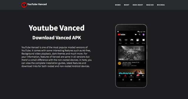 Giao diện trang web chính thức của YouTube Vanced