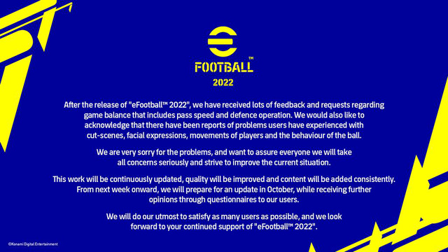 Konami xin lỗi game thủ về thảm họa eFootball 2022, hứa sẽ ra update mới - Ảnh 2.