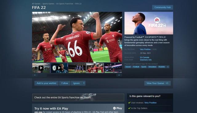 Đè đầu eFootball, FIFA 22 nhận mưa lời khen trên Steam - Ảnh 2.