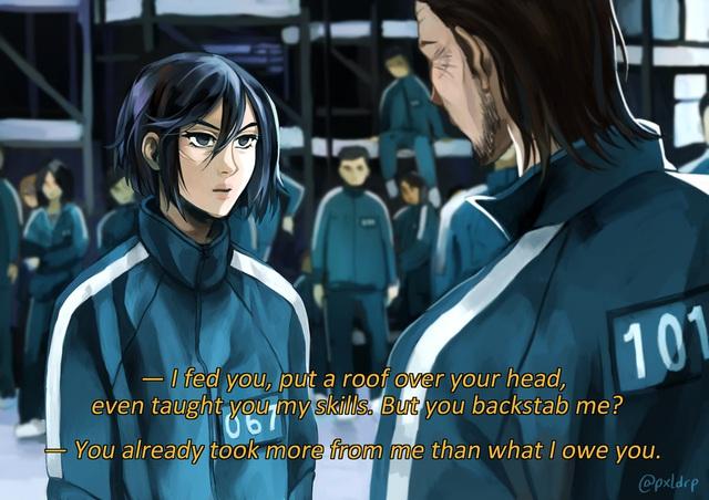 Fan anime ngẩn người khi thấy dàn nhân vật Attack on Titan bị Squid Game nhập - Ảnh 14.