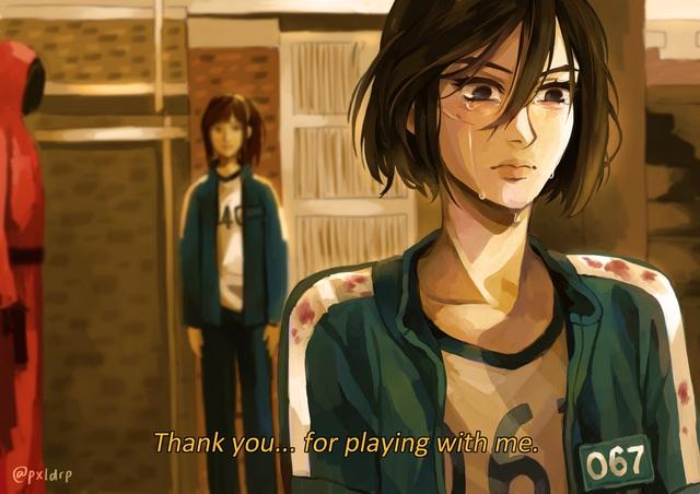 Fan anime ngẩn người khi thấy dàn nhân vật Attack on Titan bị Squid Game nhập - Ảnh 15.
