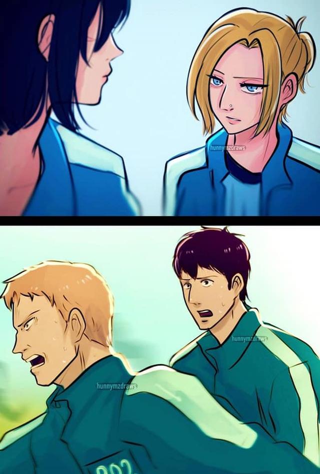 Fan anime ngẩn người khi thấy dàn nhân vật Attack on Titan bị Squid Game nhập - Ảnh 2.