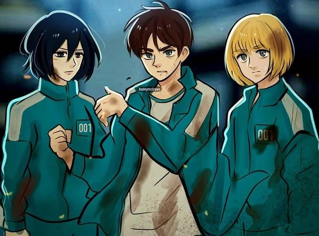 Fan anime ngẩn người khi thấy dàn nhân vật Attack on Titan bị Squid Game nhập - Ảnh 4.