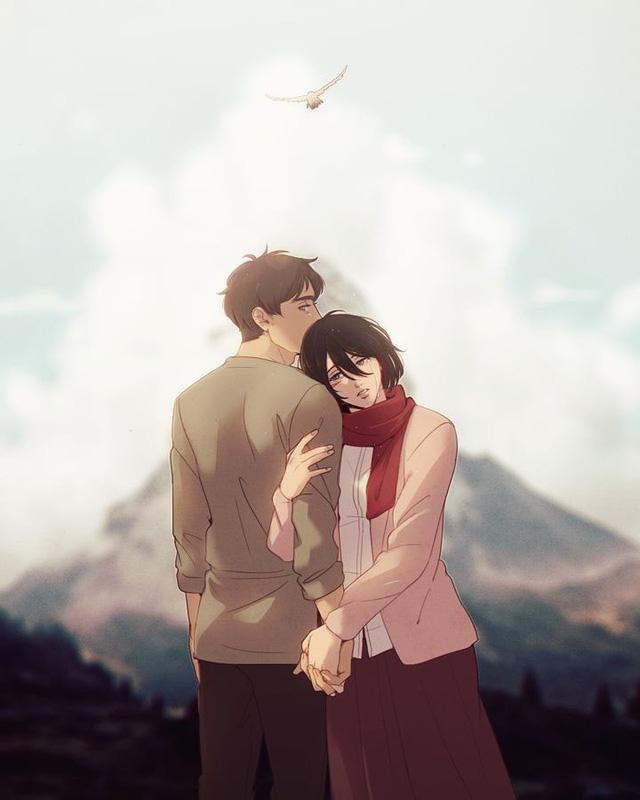 Mặc kệ tác giả nhẫn tâm, fan Attack on Titan tự vẽ ra một tương lai màu hồng nơi Eren và Mikasa bên nhau hạnh phúc - Ảnh 18.