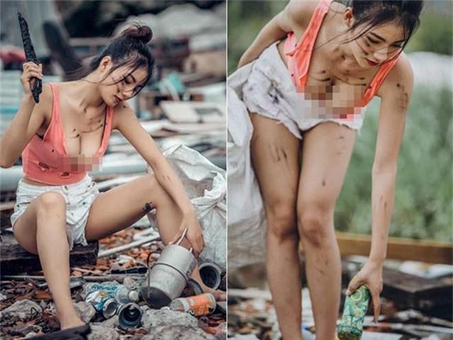 Ăn vận gợi cảm chụp ảnh bên bãi rác, cô nàng hot girl được dân mạng tìm ra danh tính, số đo 3 vòng siêu gợi cảm - Ảnh 2.