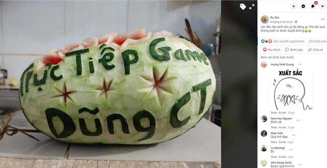 Cter trổ tài tạo hình, khắc gọt quả dưa hấu vô cùng đẹp mắt để gửi tặng Dũng CT và Team Đụt ăn Tết - Ảnh 5.