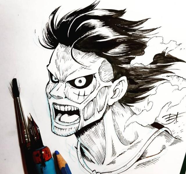 Mãn nhãn trước những hình ảnh siêu ngầu khi các nhân vật One Piece biến thành các Titan trong Attack on Titan - Ảnh 1.