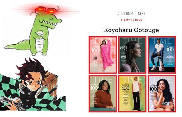 Gotouge Koyoharu là tác giả truyện tranh đầu tiên vinh dự có mặt trong danh sách này