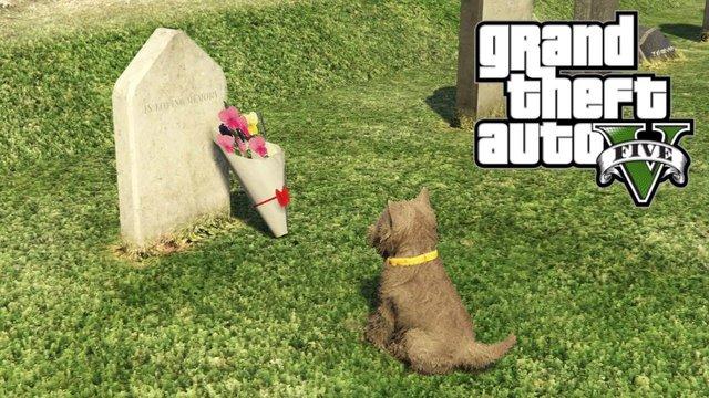 Sau gần thập kỷ ra mắt, chú chó này trong GTA V vẫn luôn đến thăm mộ chủ nhân - Ảnh 2.