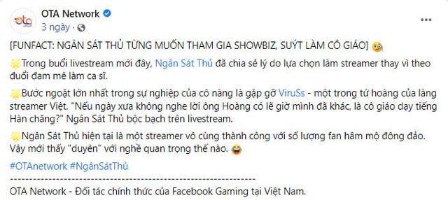 Ngân Sát Thủ tuyên bố không livestream FB nữa -1619845605893832877057