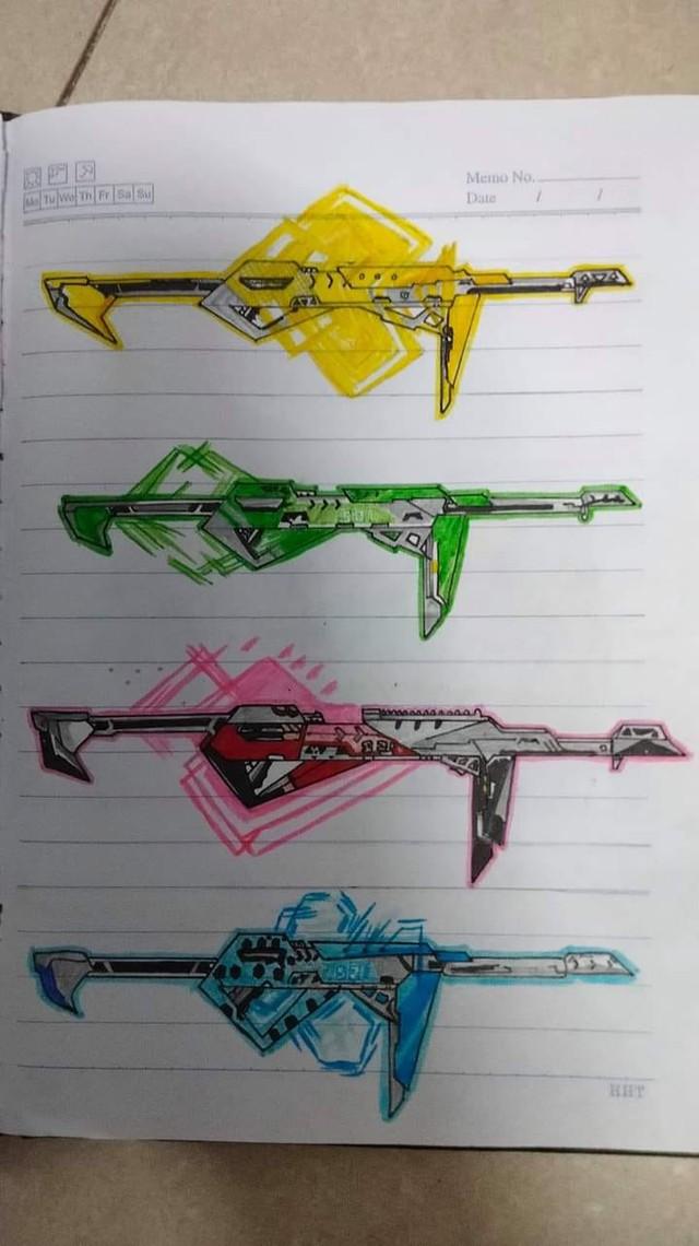 CĐM choáng khi nữ game thủ vẽ vũ khí ra vở cho dễ nhớ, nhìn không thể đoán được súng gì và game nào - Ảnh 4.