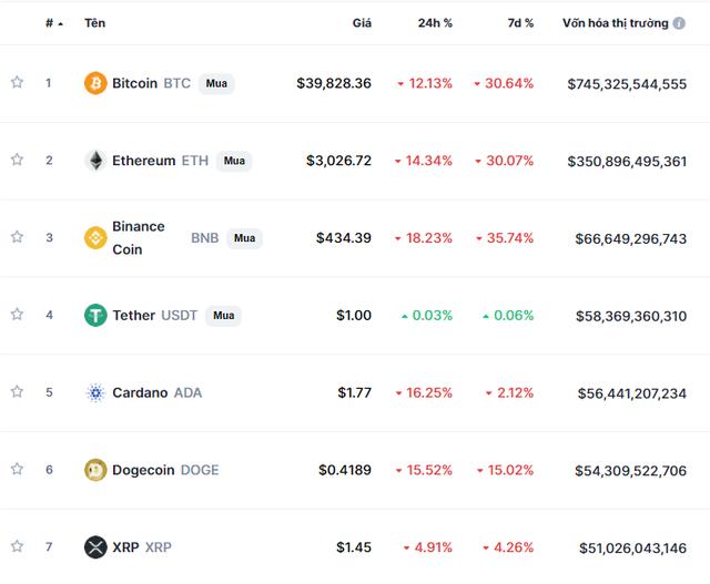 Bitcoin chạm đến ngưỡng sụp đổ, thị trường tiền ảo vỡ vụn - Ảnh 2.