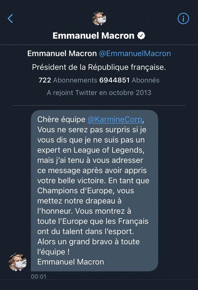 Vô địch giải hạng 2 châu Âu, team LMHT được đích thân Tổng thống Pháp gửi lời chúc: Các bạn đã làm rạng danh nước nhà -16201369744781453493002