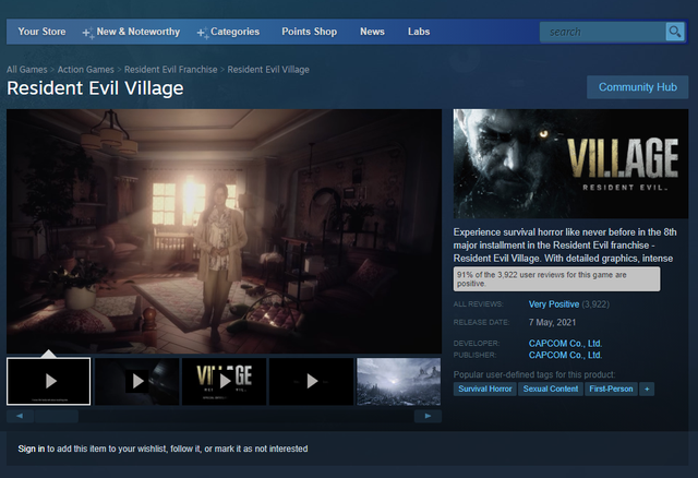 Resident Evil Village nhận mưa lời khen, trở thành game hot nhất năm 2021 trên Steam - Ảnh 1.