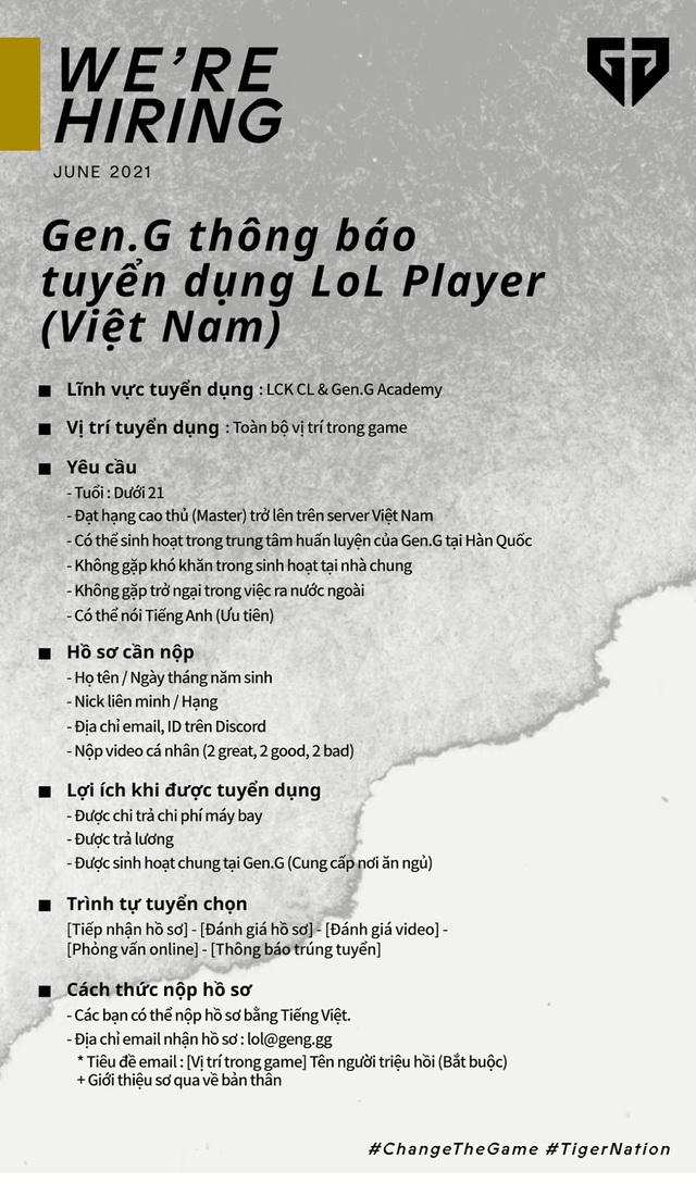 LMHT: Cộng đồng game thủ Việt dậy sóng vì thông báo tuyển tài năng của Gen.G Esports - Ảnh 2.