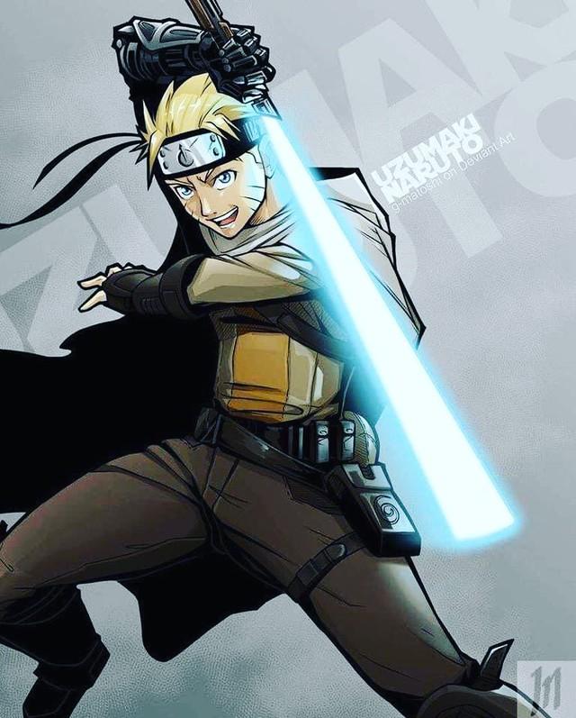 Lạ lẫm khi thấy các ninja trong Naruto tay cầm kiếm ánh sáng theo phong cách Star Wars - Ảnh 1.