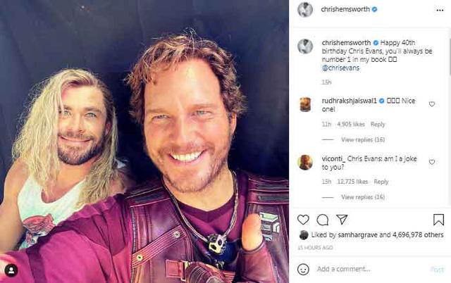 Cặp đôi tấu hài Thor và Star-Lord đăng ảnh tình tứ trong phần hậu trường Thor Love and Thunder - Ảnh 2.