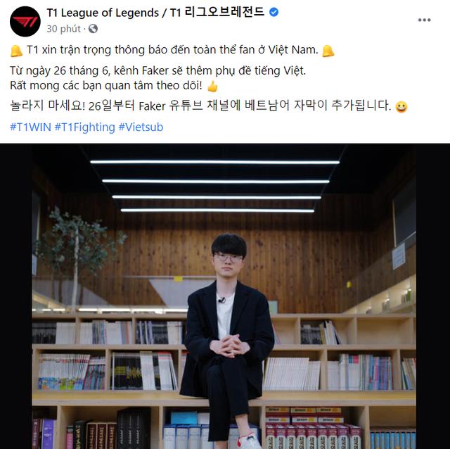 Fanpage T1 bất ngờ đăng tải thông báo tiếng Việt, nội dung khiến các fan Faker tại Việt Nam đứng ngồi không yên - Ảnh 1.
