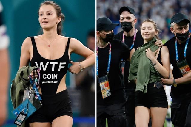 """Nữ CĐV sexy lao xuống sân tại Euro 2020 để quảng bá tiền ảo khiến tất cả có một phen """"mát mắt"""" - Ảnh 4."""