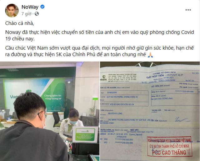 Noway và ông Cao Lê Tuấn Tú thông báo tất toán 200 triệu tiền từ thiện, khép lại lùm xùm ngâm tiền ủng hộ miền Trung - Ảnh 1.