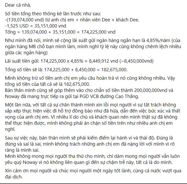 Noway và ông Cao Lê Tuấn Tú thông báo tất toán 200 triệu tiền từ thiện, khép lại lùm xùm ngâm tiền ủng hộ miền Trung - Ảnh 4.