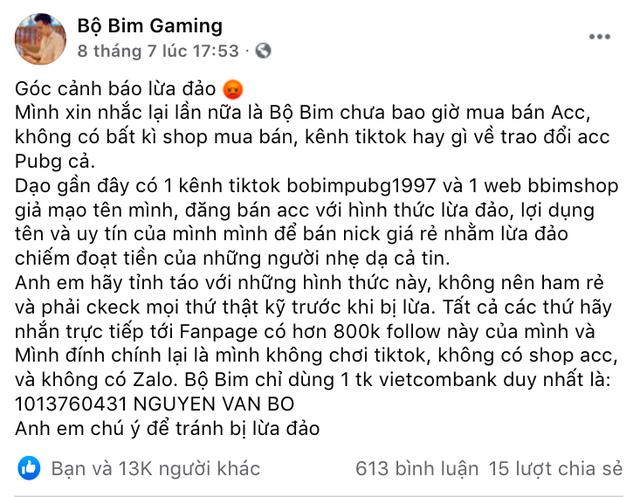 Bị lợi dụng tên tuổi lừa tiền game thủ, Bộ Bim đăng tus cảnh báo fan, có ý định đăng ký bản quyền thương hiệu - Ảnh 4.