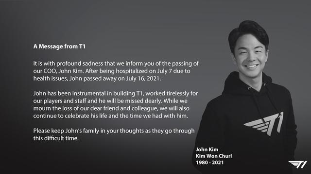 Tin dữ tới tấp ập đến: T1 thông báo Giám đốc vận hành của tổ chức vừa qua đời vì bạo bệnh - Ảnh 1.