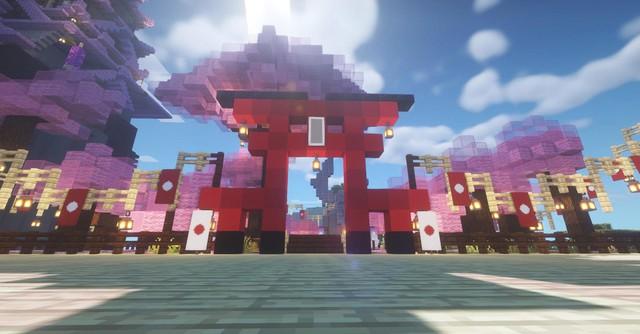 Không cần đợi Genshin Impact 2.0, game thủ tự xây thành phố Inazuma trong Minecraft - Ảnh 5.